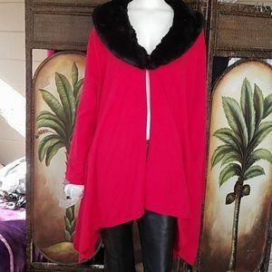 NWT! Ruby Rd Sweater w/faux fur collar